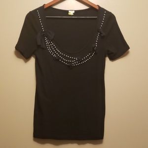 J.crew factory silver beaded scoop neck blouse euc